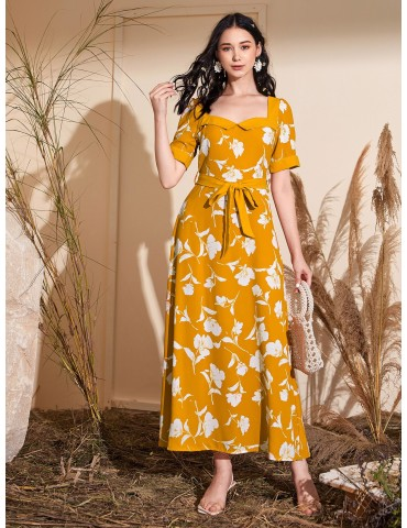 Belted Floral Print Sweetheart Neck Maxi Dress